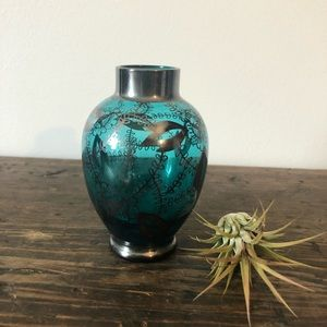 Vintage Blue Glass Floral Vase